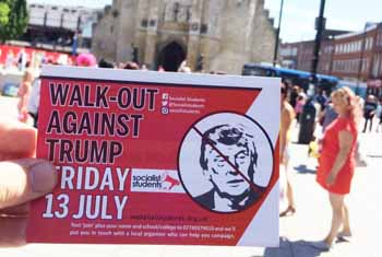Campaigning in Southampton for school and college walkouts when Trump visits Britain on 13th July