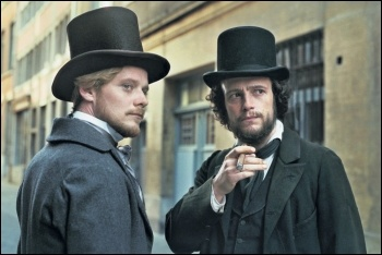 Friedrich Engels (Stephan Konarske) and Karl Marx (August Diehl) in The Young Karl Marx, still from The Young Karl Marx/Diaphana Films