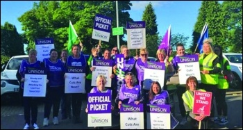 East Dunbartonshire council workers strike, photo Socialist Party Scotland