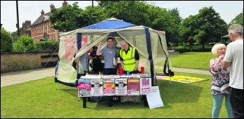 Socialist Party stall at the Hull 'Engage for Change' event, photo Paul Spooner