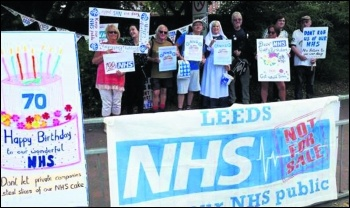 Leeds NHS 70th anniversary protest, photo Leeds KONP