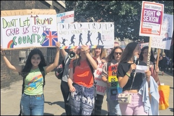 London school students marching against Trump, 13.7.18, photo by Sarah Wrack