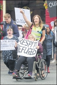 Service users, carers and workers marching against closure of the respite centre, photo by Southampton SP