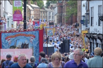 Part of the Durham Miners' Gala march, 14.7.18, photo by Jane Nellist