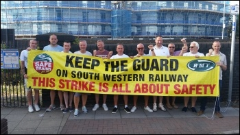 Striking RMT guards at Fratton, Portsmouth 4 August, photo RMT