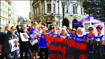Socialist Party members in solidarity with striking home care workers, photo Kristian O'Sullivan