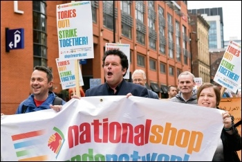 Marching to 2018 TUC congress after the NSSN rally, 9.9.18, photo Mary Finch