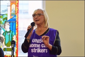 Birmingham homecare worker Mandy, NSSN rally Sept 2018, photo Mary Finch