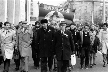 Some of Liverpool's Militant-led socialist Labour councillors, including Derek Hatton (far left) and Tony Mulheran (second from left in flat cap), photo Militant