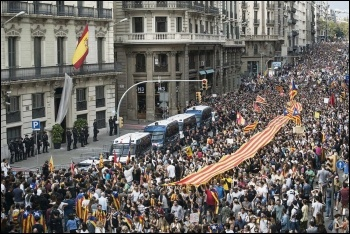 Catalonia's general strike in defence on the independence vote, 3.10.17, photo Robert Bonet/CC