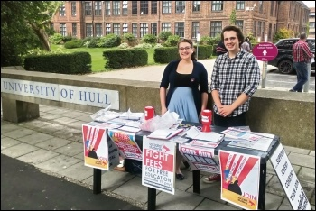 Socialist Students stall at Hull University freshers fair, 17.9.18, photo by Matt Whale