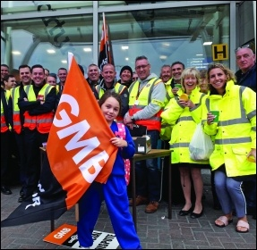 GMB union members on strike at Liverpool airport, September 2018, photo by Hugh Caffrey
