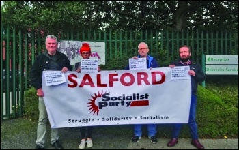 Salford Socialist Party members lobby the British HQ of Jasic Technologies, photo Salford Socialist Party