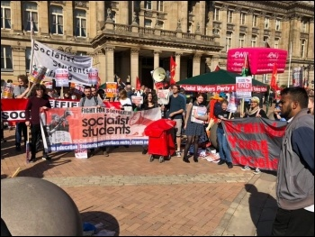 Socialist Party contingent at the Tories Out demo in Birmingham 29 September 2018, photo Len Shail