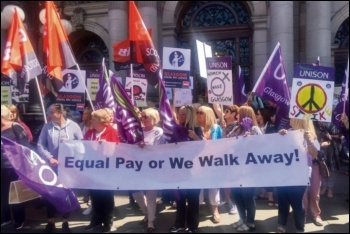 Glasgow council workers protesting for pay equality, photo by Glasgow City Unison