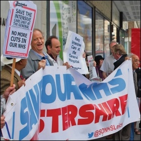 Protesting against hospital cuts in Leicestershire, photo by Tom Barker