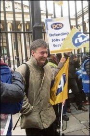 Chris Baugh out supporting PCS members on strike