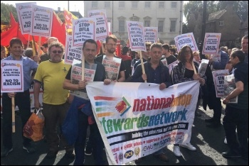 Socialist Party members marching against the far-right DFLA, 13.10.18, photo Socialist Party