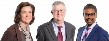 Leadership candidates from left to right Eluned Morgan, Mark Drakeford and Vaughan Gething, photos National Assembly for Wales/CC