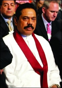 Reactionary PM Mahinda Rajapaksa, photo Nader Daoud-WEF/CC