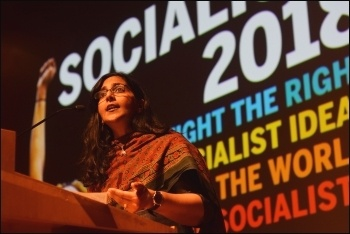 Seattle 'Socialist Alternative' councillor Kshama Sawant speaking in London at Socialism 2018 on 10.11.18, photo Mary Finch