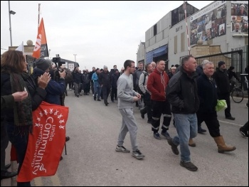 Merseyside Cammell Lairds shipbuilding workers walk out, 23.11.18, photo Hugh Caffrey