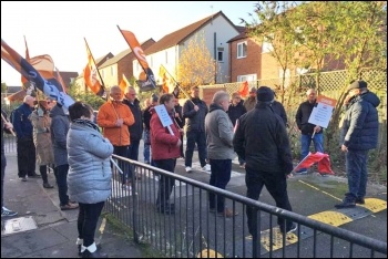 Hull council workers protesting to protect their sick pay, December 2018