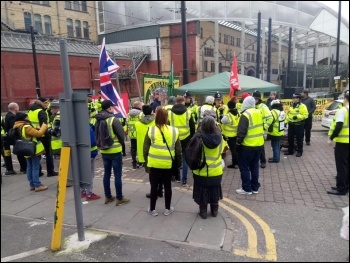Far-right activists in yellow vests try to intimidate an RMT picket line in Manchester, 5.1.19