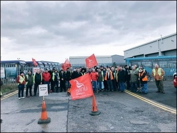 Arriva bus strike picket line in Darlington, photo Unite