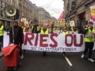 Socialist Party members on  the PA anti-austerity march, 12.1.19, photo S. Wrack