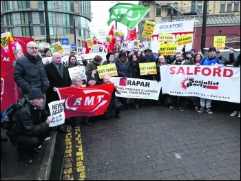Socialist Party members join other trade unionists and supporters at the RMT picket line 12 January 2019, photo Jackie Grunsell