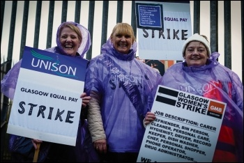 In 2019, 13,000 low-paid women council workers in Glasgow took strike action and won an end to the gender pay gap injustice they had suffered for over a decade, photo Public Services International/CC
