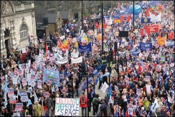 Trade unionists marching against austerity, 26.3.11 - given a lead, workers will fight, photo by Paul Mattsson
