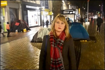Cardiff Tory councillor Kathryn Kelloway calls for the razing of homeless tents, photo by Twitter @kathkelloway
