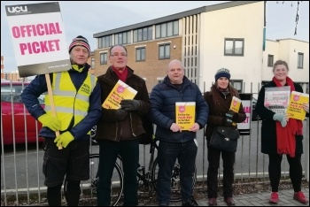 The Leicester College UCU picket line at Freemen's Park campus, 29.1.19