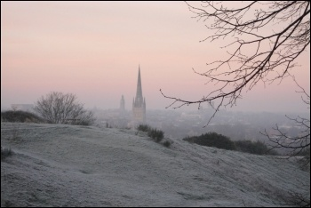 Mousehold Heath, where Kett's Rebellion was crushed, with Norwich Cathedral in the bakground, photo by Amitchell125/CC