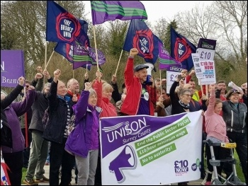 Surrey Unison on the march against austerity last April.