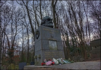 Karl Marx's grave following the attack