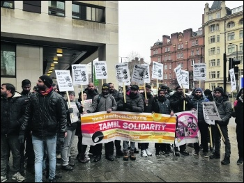 Protesting outside the Sri Lankan High Commission on 1 February, photo Tamil Solidarity