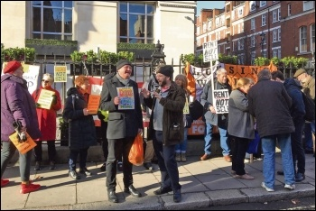 Housing campaigners protesting outside the Savills social housing auction, 19.2.19, photo London Socialist Party