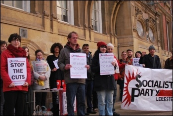 Fighting council cuts in Leicester, photo Leicester Socialist Party