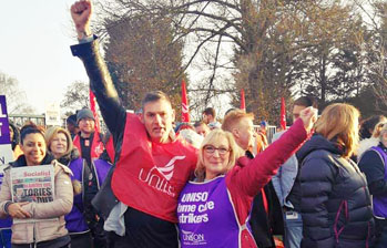 Birmingham bin workers and home care workers strike together, photo by Birmingham SP
