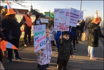 Part of the picket line at Galliard school in Enfield, 27.2.19, photo London Socialist Party