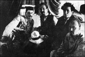 Stalin (left) with fellow Bolshevik leaders Rykov, Zinoviev and Bukharin - all of whom he later had executed