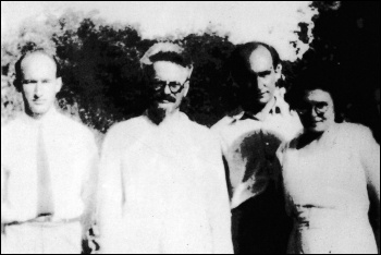 Trotsky (front centre) with his first daughter Zinaida (right) and supporters, in exile on Pinkipo island, 1929