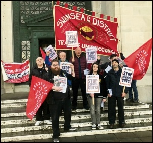 Trade union and Socialist Party members protesting for a no-cuts budget in Swansea, 28.2.19, photo Socialist Party Wales