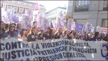 Over 2.5 million students emptied the classrooms on International Women's Day - 8th March - in the Spanish state, called out by Libres y Combativas., photo by Libres y Combativas