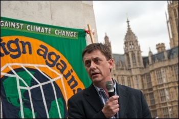 Chris Baugh, assistant general secretary of the civil servants' union PCS, speaking at a recent climate protest. Trade unions have a central role to play in the fight to save the planet and achieve socialist change, photo Socialist Party