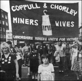 One of Joan's banners displayed on the national women's demo in support of the miners in August 1984, photo The Miner