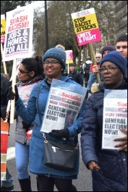 Socialist Party members on the anti-racism march 16 March 2019, photo Mary Finch